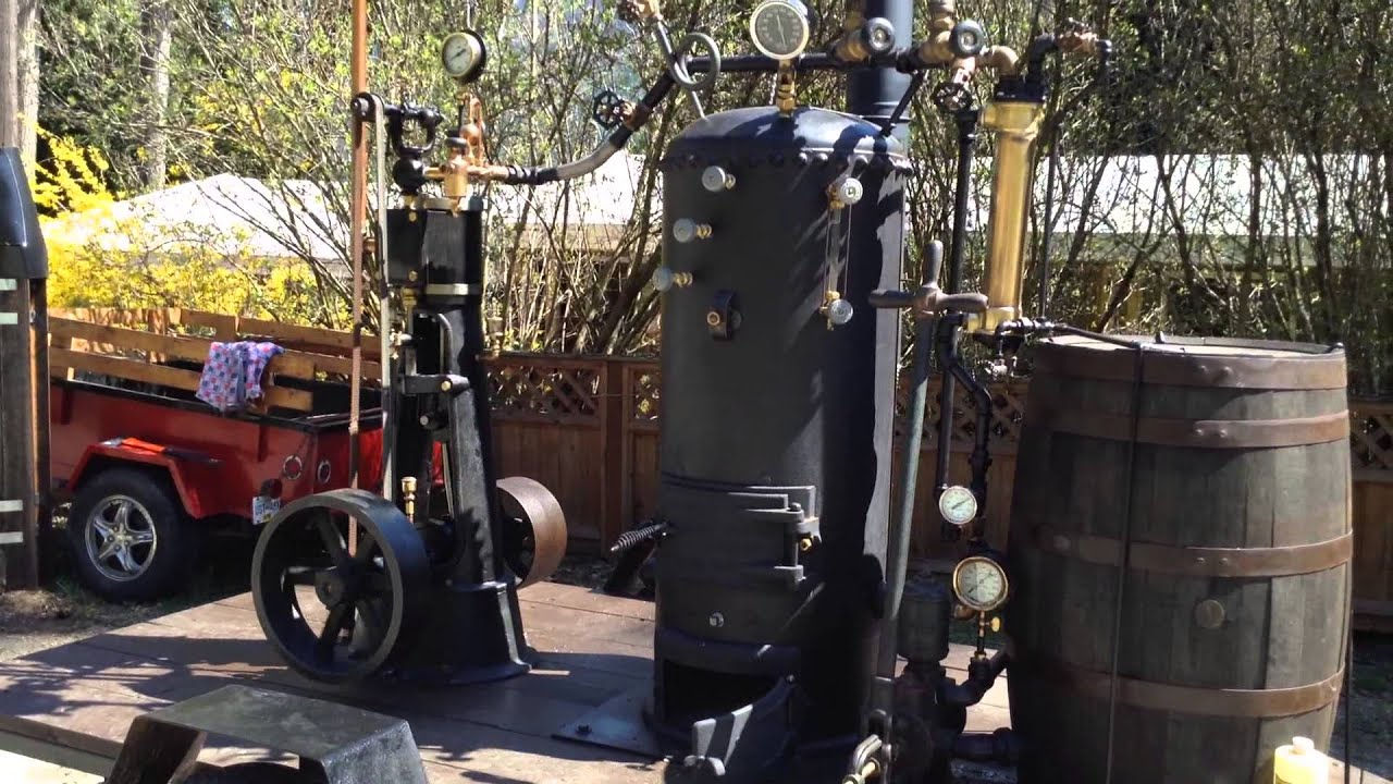 wood fired boiler and steam engine test youtube