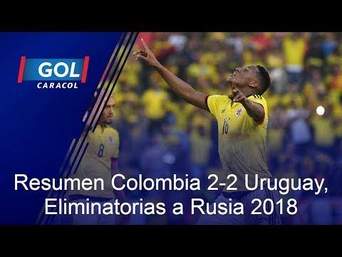 Resumen partido Colombia 2-2 Uruguay, Eliminatorias Mundial Rusia 2018