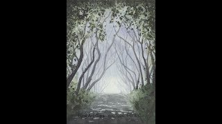 How to Paint a Road With Trees and Light in Watercolor - Narrated