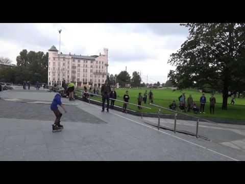 Latvia. Riga 2014 Skateboarders near building of the Latvian National Library