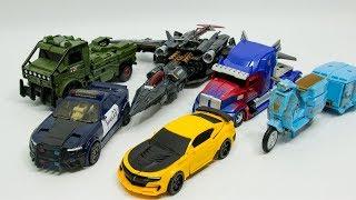 Transformers 5 TLK Oversized Optimus Prime Bumblebee Hound Barricade Megatron Sqweeks Car Robot Toys