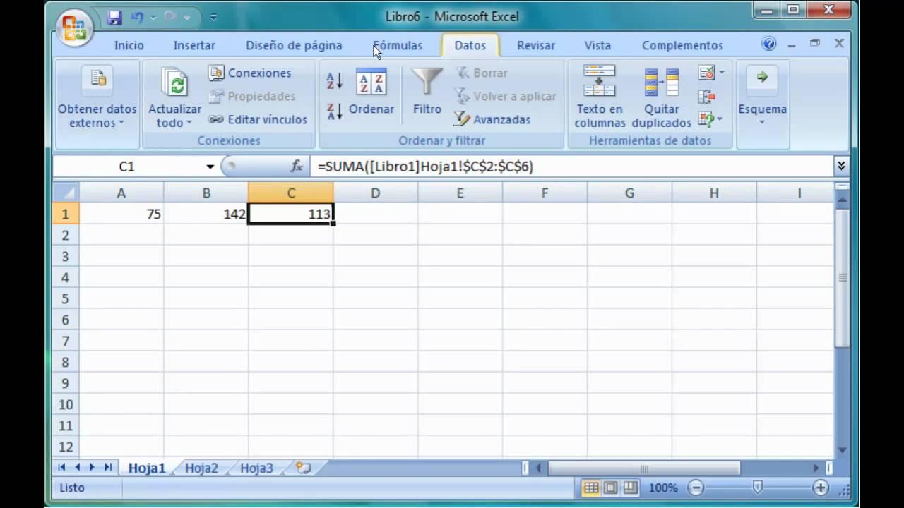 Excel 2007 17.4. Enlazar y consolidar hojas de trabajo. - YouTube