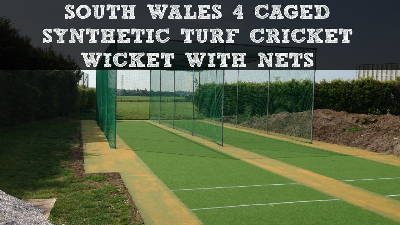 south wales 4 caged synthetic turf cricket wicket with nets youtube