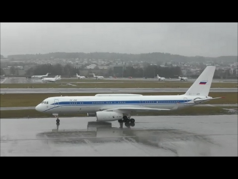 (With live ATC/RARE at ZRH!!!) Federal Security Service Tupolev 214 at Zurich-Kloten