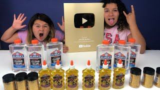 MAKING GIANT GOLD SLIMES - 1,000,000 SUBSCRIBERS  GOLD PLAY BUTTON