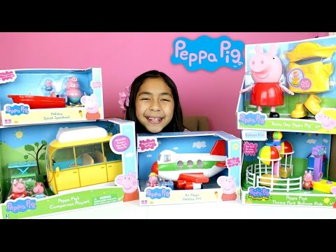 Peppa Pig Toys!! Speadboat Holiday Jet Campervan Playset Balloon Ride Peppa Pig|B2cutecupcakes
