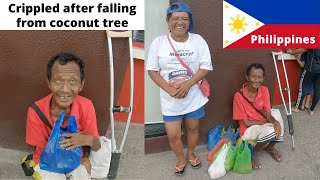 food and Clothes for Crippled Man Who Fell From Coconut Tree - Toledo Philippines