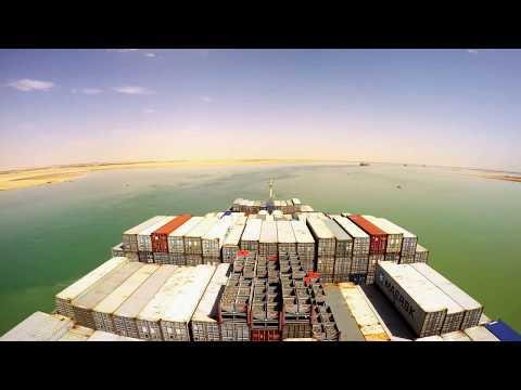 Big Container ship Crossing Suez Canal Mediterranean Sea to Red Sea !!!