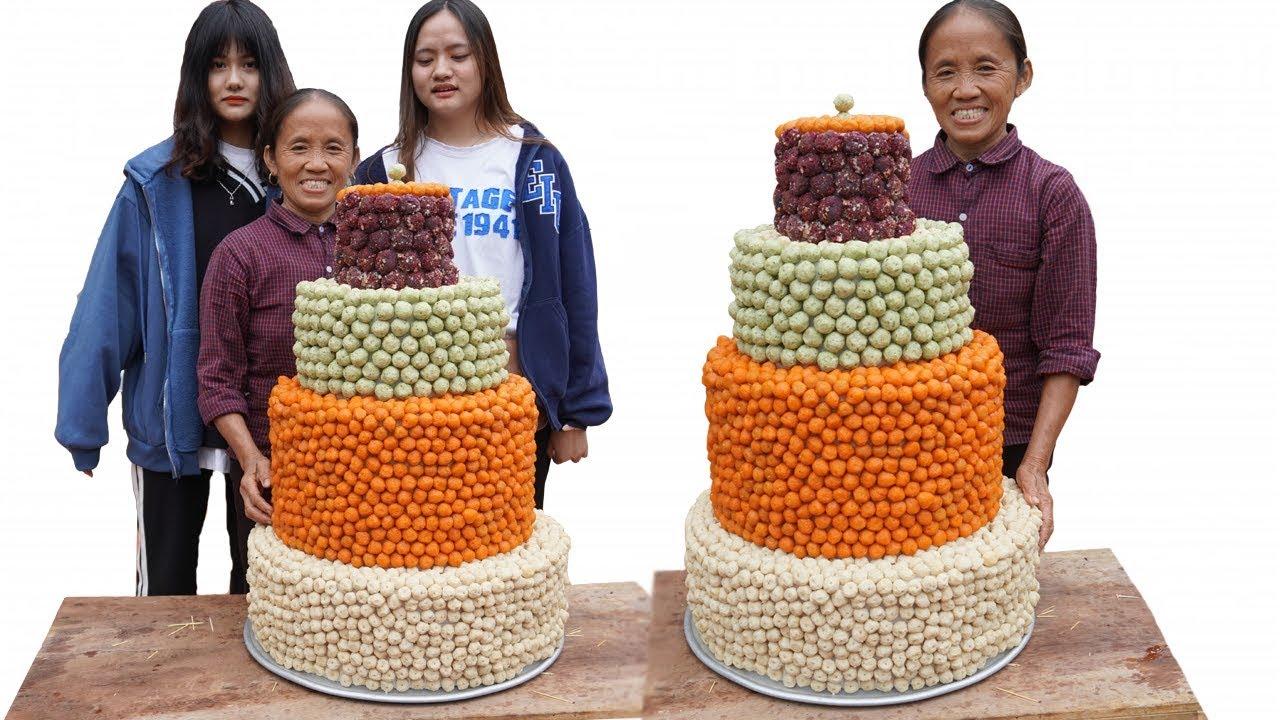Bà Tân Vlog - Làm Bánh Sinh Nhật Siêu To Khổng Lồ Bằng Cá Viên Chiên | Giant birthday cake