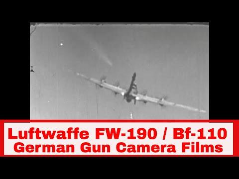 LUFTWAFFE FW-190 and BF-110 FIGHTER KILLS  GUN CAMERA FILMS 1944 43724