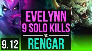 EVELYNN vs RENGAR (JUNGLE) | 9 solo kills, 68% winrate, Legendary | BR Challenger | v9.12