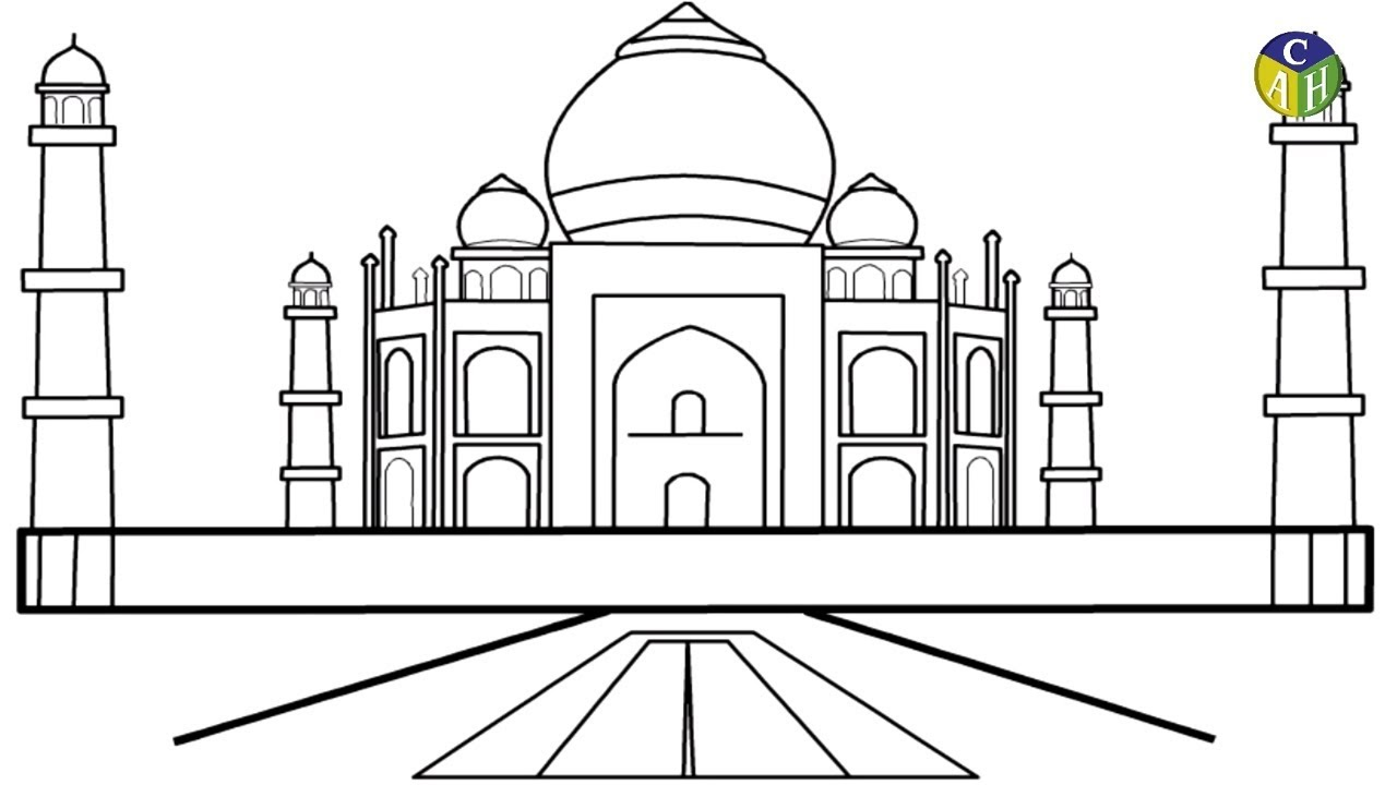 How to Draw Tajmahal | DRAW TAJ MAHAL COLORING PAGES FOR KIDS | TAJ ...