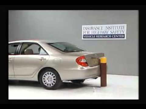 vehicule crash test 2002 toyota camry daihatsu altis 5 m p h rear into pole iihs extreme. Black Bedroom Furniture Sets. Home Design Ideas
