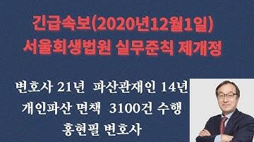 2020년11월24일시행 서울회생법원 개인도산 관련 실무준칙 제개정 결과(홍현필 변호사 직접상담 010-4515-5522)