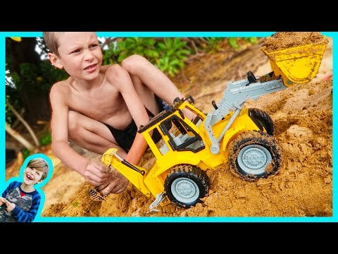 Construction Truck Videos For Children | New Backhoe Digs in the Sand