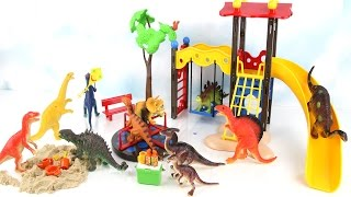 Dinosaurs Fun Play at Playmobil City Life Playground Playset Toys. Learn Names Dinosaur for Kids.