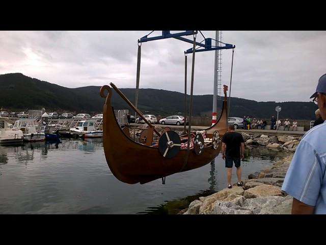 Primera prueba de mar para el barco de la Romaxe Viquinga de O Vicedo