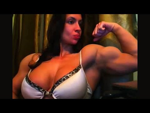 Muscle Girl Flexing Her Biceps In Webcam Chat