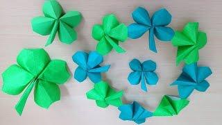 折り紙の四つ葉のクローバー(1枚) 簡単な折り方 (niceno1) Origami four leaf clover Lucky clover 四つ葉のクローバー 検索動画 26