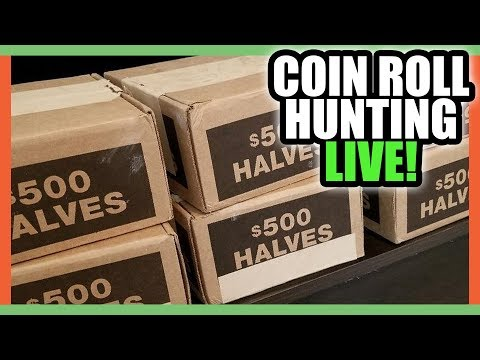 COIN ROLL HUNTING FOR RARE HALF DOLLARS - SEARCHING FOR RARE COINS THAT ARE WORTH MONEY!!