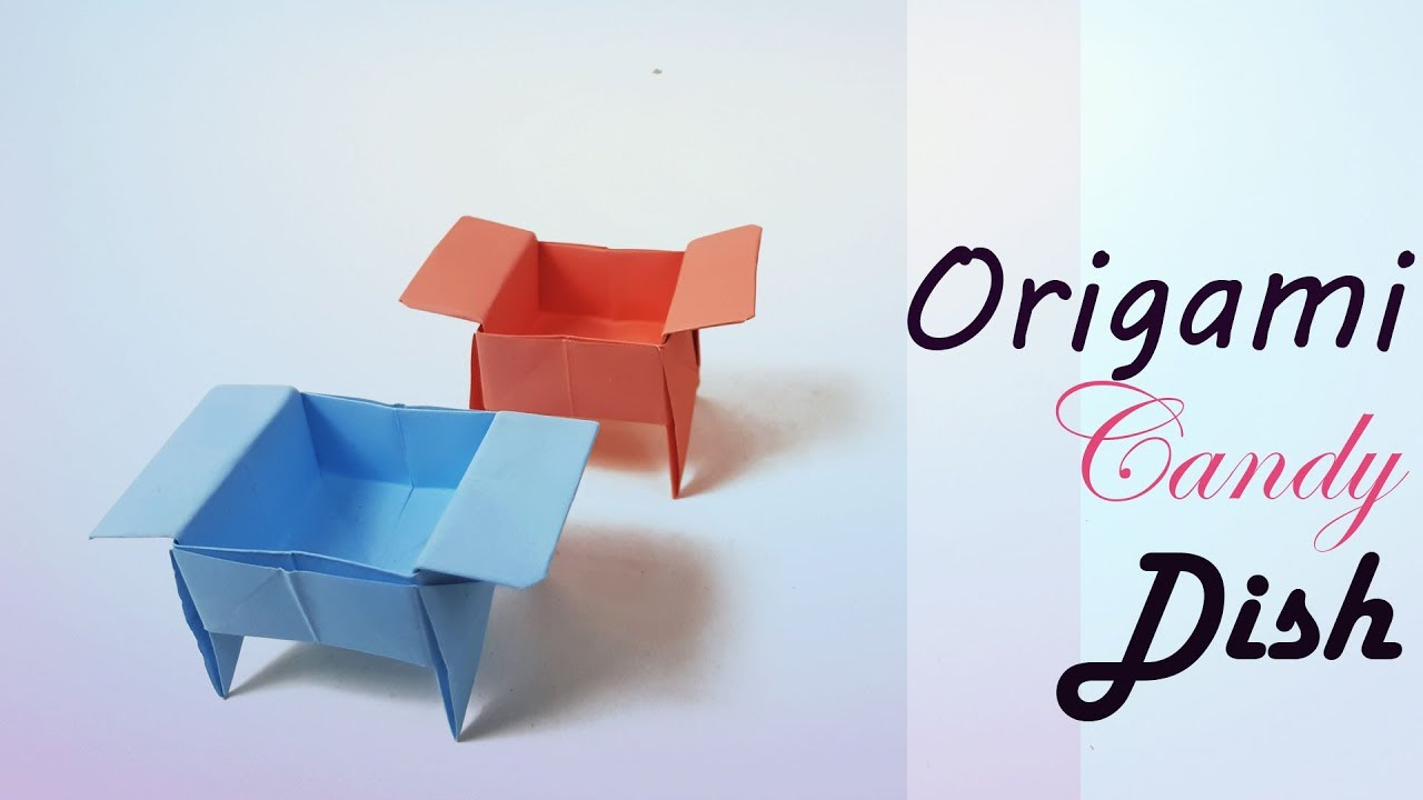 Free folding instructions for an origami candy dish box | 720x1280