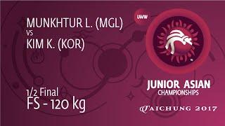 1/2 FS - 120 Kg: L. MUNKHTUR (MGL) Df. K. KIM (KOR) By FALL, 11-0