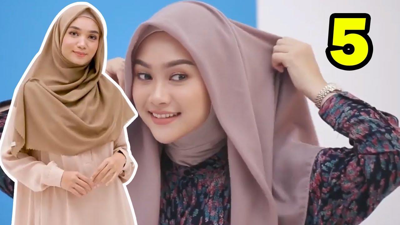 5 Tutorial Cara Pakai Hijab Simple Segi Empat yang Hits