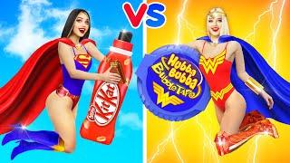 BIG FOOD vs SMALL FOOD CHALLENGE!    Eating GIANT VS TINY Candy, Chocolate, Fake cosmetics by RATATA