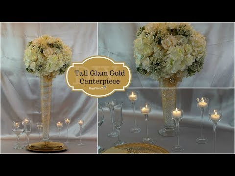 DIY Tall Glam Gold Centerpiece | DIY Glam Wedding Centerpiece | DIY Tutorial