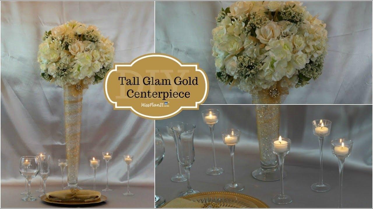 Diy tall glam gold centerpiece wedding