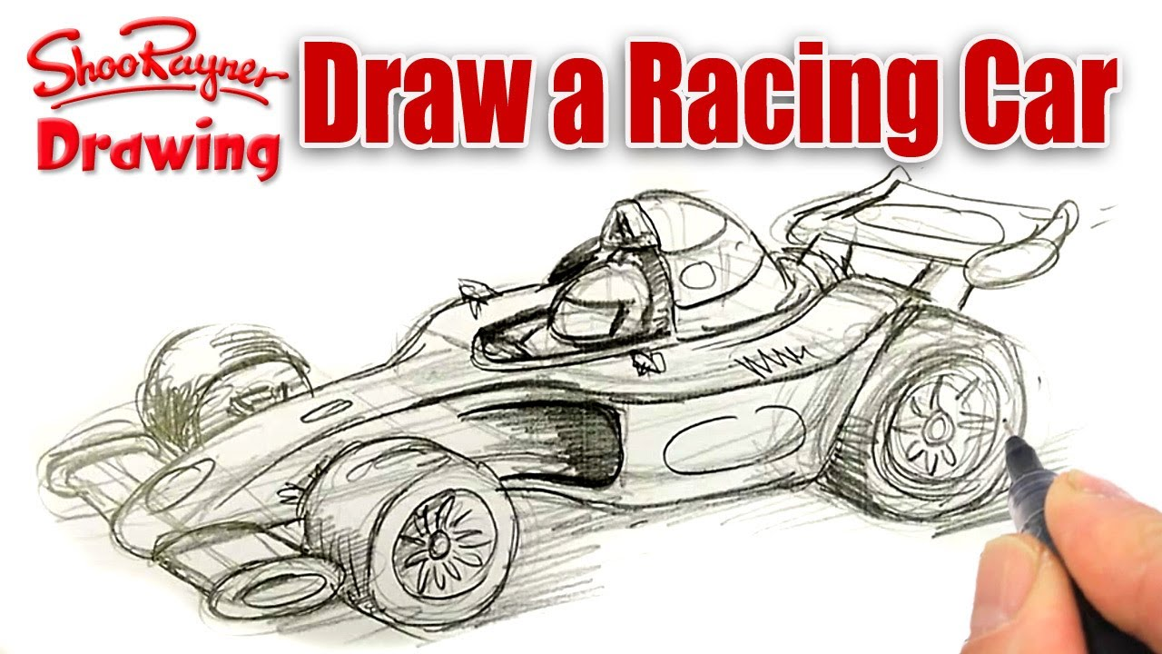 How To Draw A Formula One Race Car Spoken Tutorial Youtube