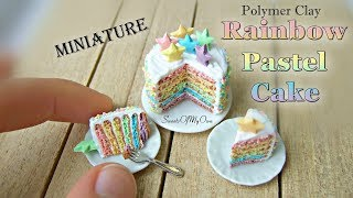 Miniature Polymer Clay Rainbow Pastel Cake - Dollhouse Food