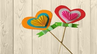Paper heart stick heart crafts for preschoolers and Sunday school with paper