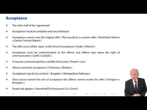 Contract Law: Acceptance, Consideration - ACCA Corporate and Business Law (LW) (ENG)