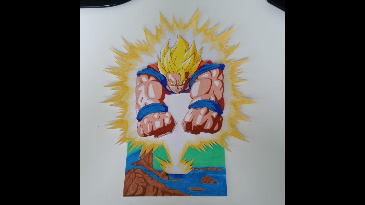 Drawing Goku Super Saiyan On Namek 3d Art By Tolgart