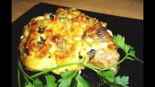 Съедаем за 5 минут. Картофель, курица, грибы, сыр мацарелла  запеченные в духовке.