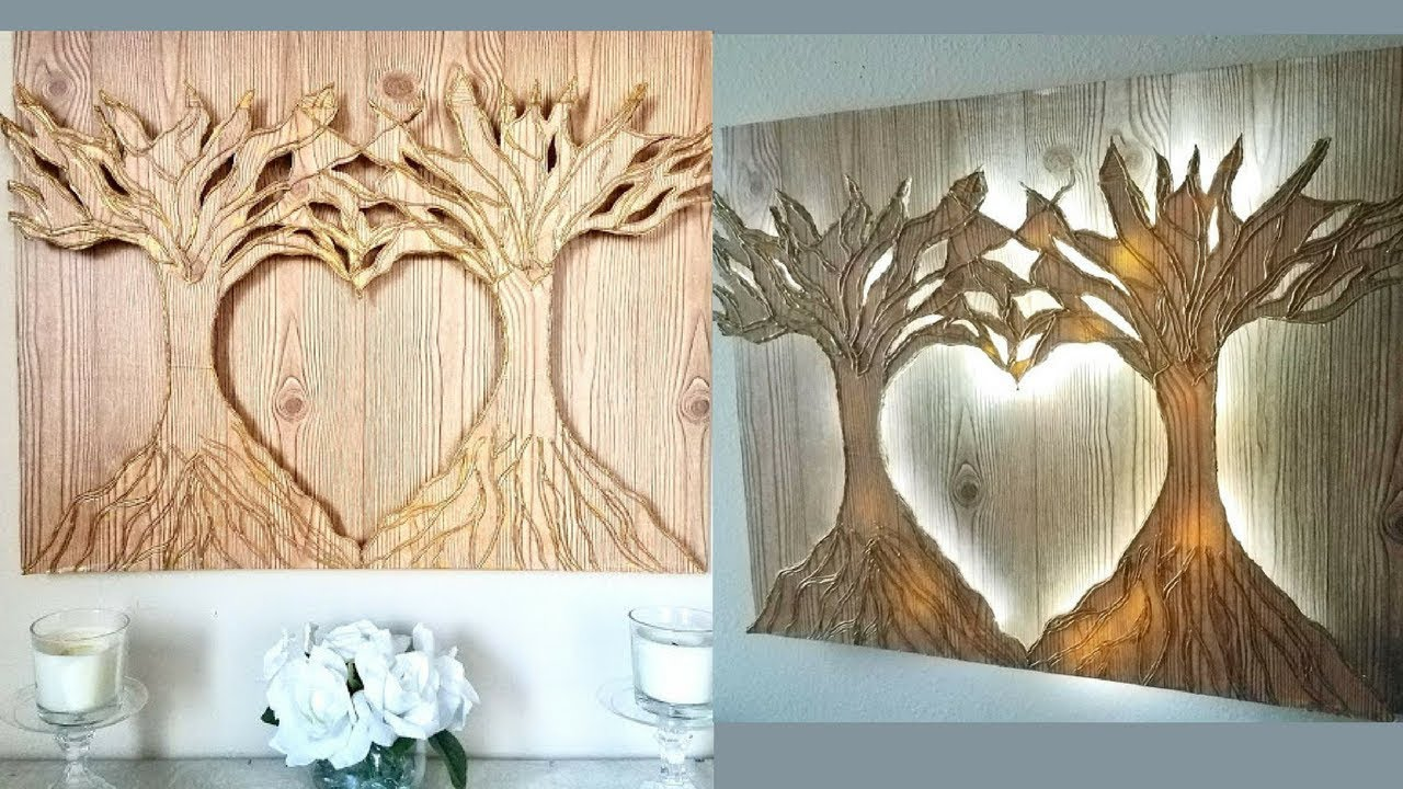 Diy 3D Heart Shape Tree Wall Decor With Lighting! - YouTube