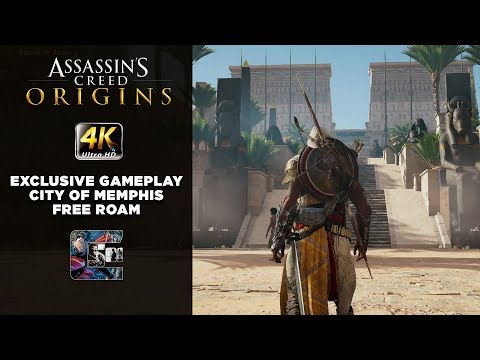 Assassin's Creed: Origins - Exclusive Gameplay - City of Memphis Free Roam - 4K Xbox One X