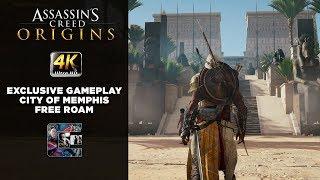 Assassin's Creed: Origins - Exclusive Gameplay - City of Memphis Free Roam - 4K Xbox One X