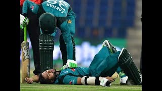 Imam Ul Haq recovering from the blow during 4th ODI Eng vs Pak