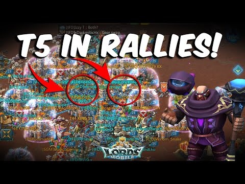First Ever T5 Rallies TFD | 300K T5 VS Level 5 DN Test - Lords Mobile