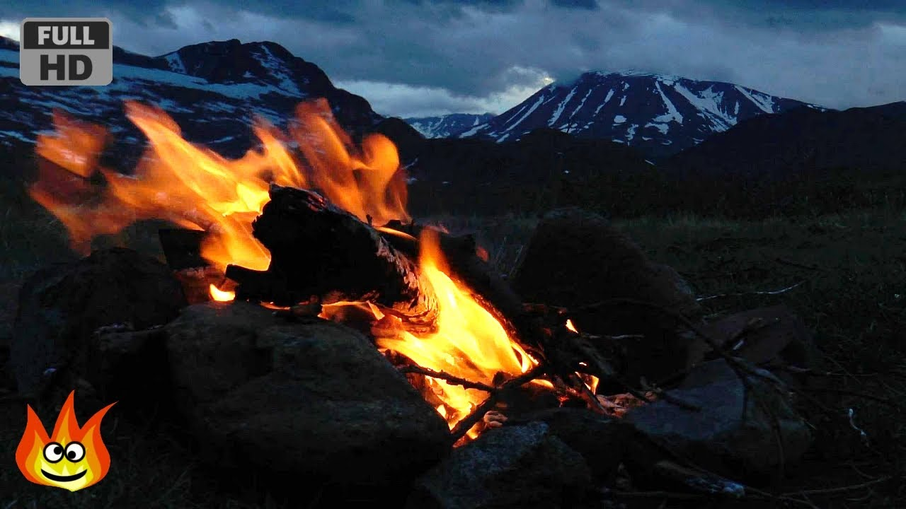Crackling Campfire On The Windy Tundra Of Norway HD
