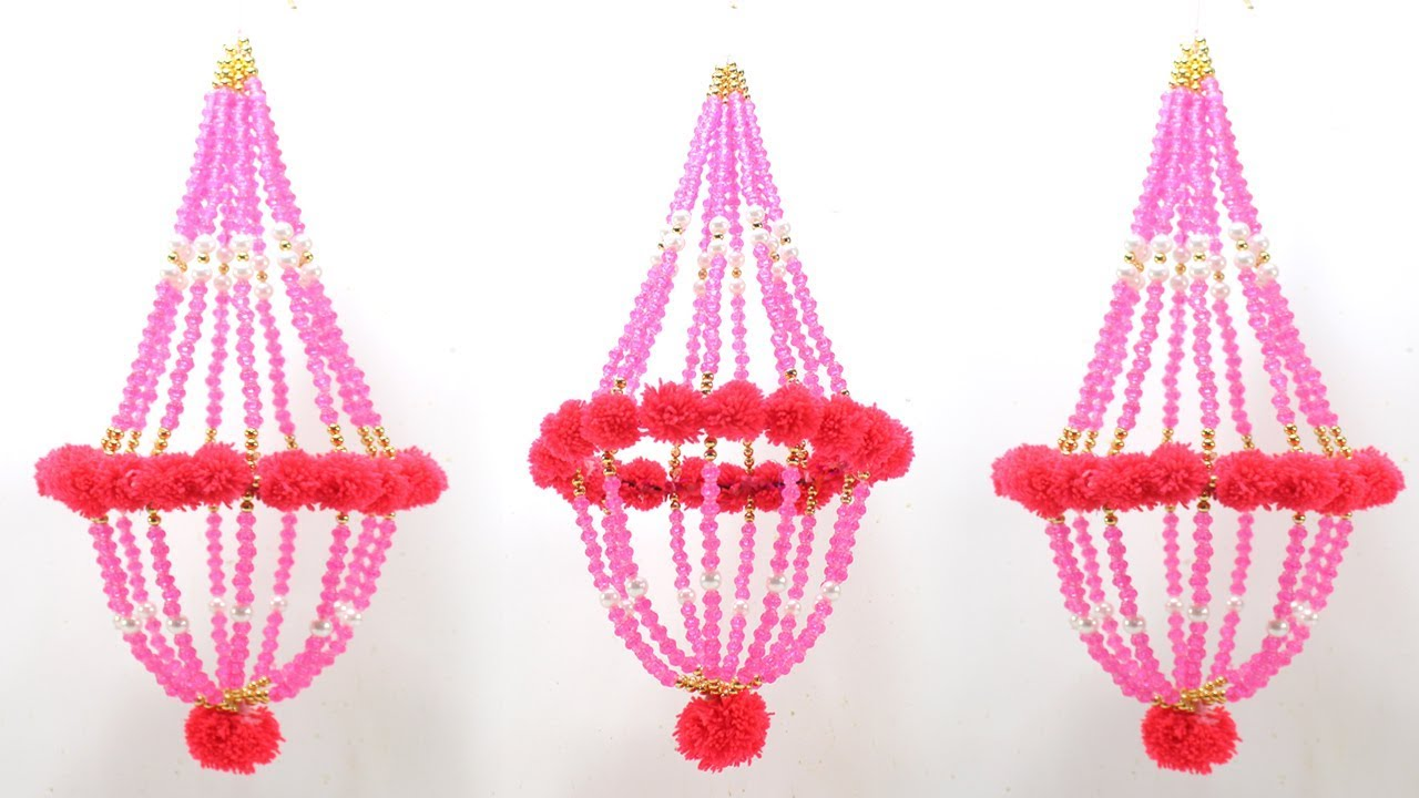 DIY CEILING HANGING JHUMAR from PEARLS for HOME DECORATION ...