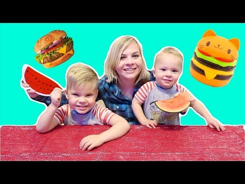 SQUISHY FOOD vs REAL FOOD! (W/ Ollie and Finn!) // SoCassie