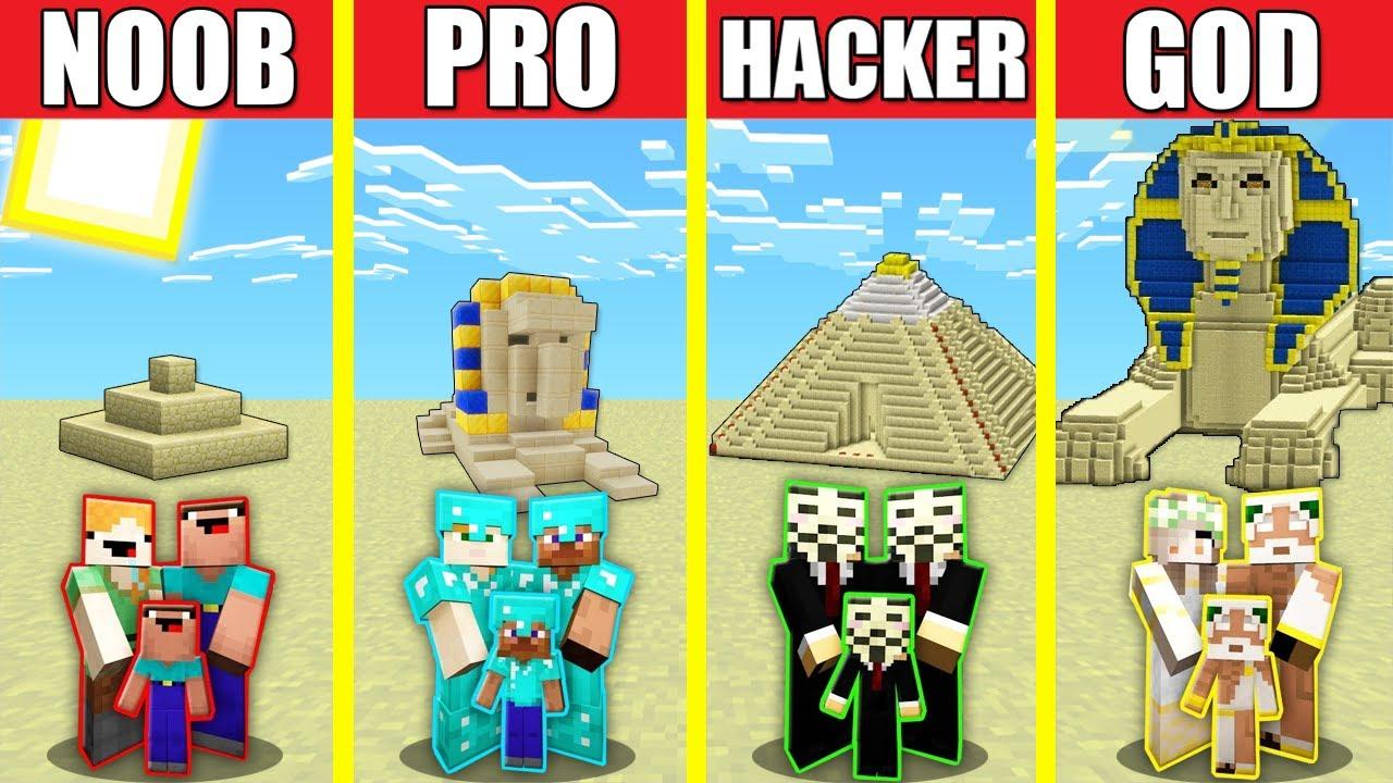 Minecraft Battle: SAND DESERT HOUSE BUILD CHALLENGE - NOOB vs PRO vs HACKER vs GOD Animation PYRAMID