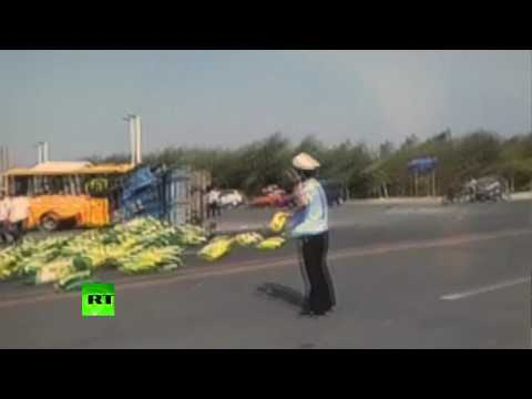 Caught on cam: School bus & truck collide in China