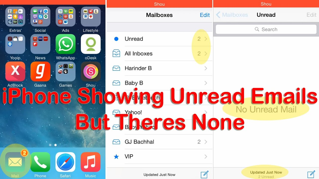 Iphone Showing Unread Emails Messages But There Are None Youtube