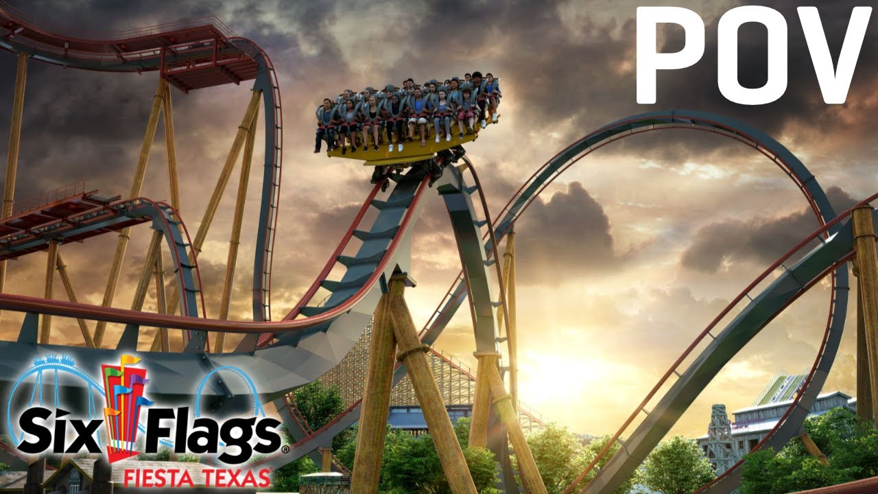Dr. Diabolical's Cliffhanger Animated POV - New for 2022 Roller Coaster - Six Flags Fiesta Texas
