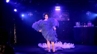 Miss Indigo Blue performing her triple fan dance burlesque act live...