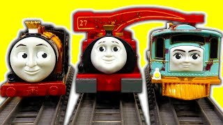 Thomas TrackMaster Lexi Harvey Stephen 3 Packs Rubber Chicken Train Crashing Factory Error Fun